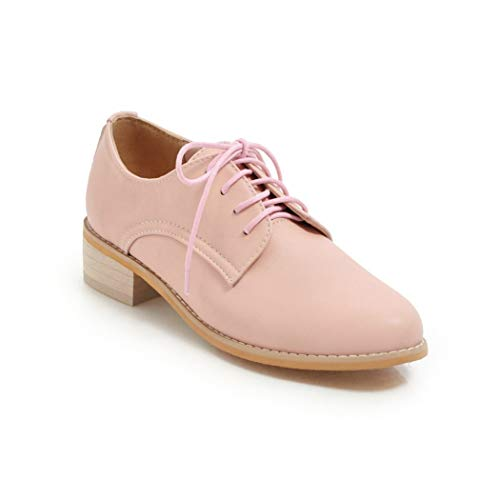 Womens Comfort PU Leather Oxfords Wingtip Brogue Lace up Flats Casual Daily Shoes Pink