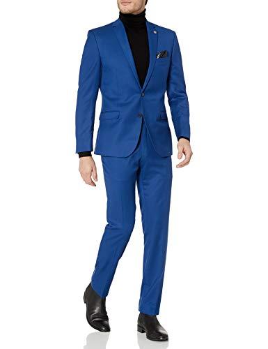Perry Ellis Men's Very Slim Fit Stretch Solid Dot Print Suit Jacket, Dark Sapphire, Large/42 Regular
