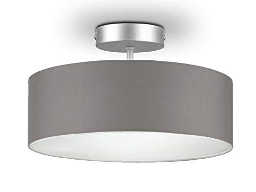 Runde Zeitlose Deckenleuchte mit Stoffschirm in Braun-Grau Ø 30cm - satinierte Abdeckung für blendfreies Lichtambiente