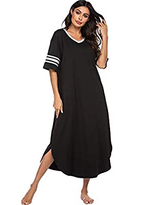 Ekouaer Sleepwear Womens Loungewear Soft Long Nightgown Short Sleeve Pajama House Dress V Neck Sleep Shirts Nightshirt