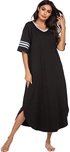 Ekouaer Sleepwear Womens Loungewear Soft Long Nightgown Short Sleeve Pajama House Dress V Neck product image