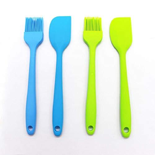 Silicone Brush Set, Non-Stick Rubber Spatulas and Non-Stick Rubber Brush for Cooking Baking and Silicone Brush(4 Pcs Green)