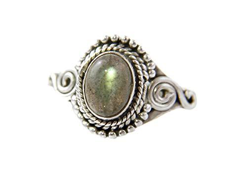 Agathe Creation BA1910016 – Anillo de plata 925 (sellado) con piedra labradorita – hecho a mano