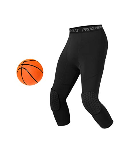Unlimit Basketball Pants with Knee Pads, Black Basketball Knee Pads Within Basketball Compression...