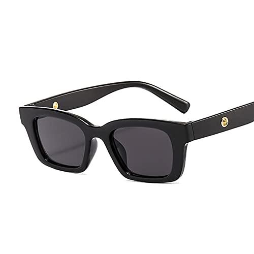 PPCLU Espejo Cuadrado Gafas de Sol Mujeres Moda diseñador Vintage pequeño rectángulo Gafas de Sol para Mujer Masculino Negro (Lenses Color : Black Gray)