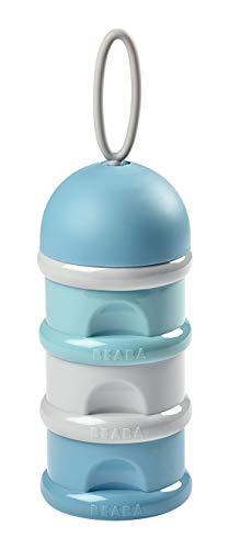 BÉABA - Contenitore Dosatore di Latte in Polvere, Impilabile, 3 Scomparti, 100% Ermetico, Utilizzo Evolutivo: Si Trasforma in un Contenitore per Merenda, Blu/Verde/Grigio