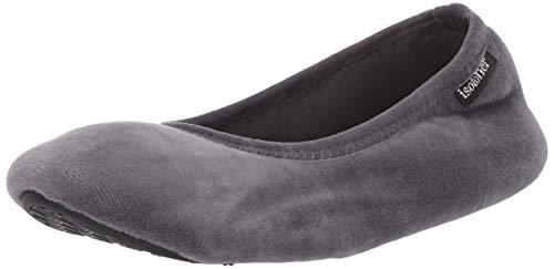 Isotoner Damen Memory Foam Victoria Ballerina Stretch Velour Ballet Comfort House Shoe Slipper, Mineral