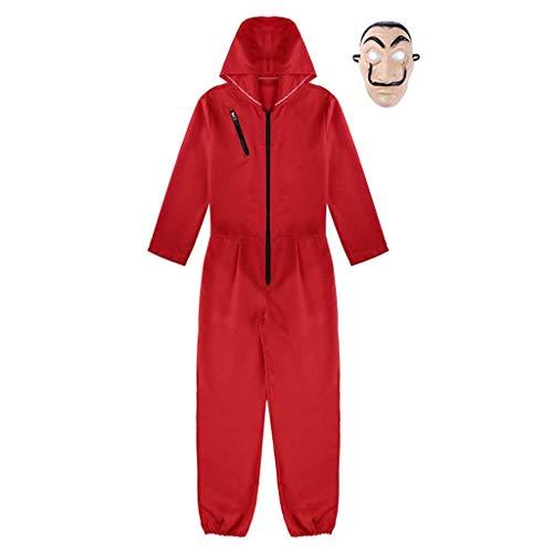 Xinqin 2 Pcs Kit de Disfraz de Rojo, Traje de Cosplay para Carnaval Navidad Halloween Ropa y Máscara (XL)