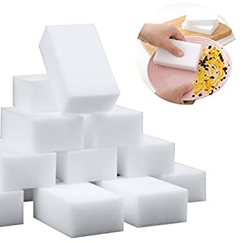 100 Pack Magic Sponge Eraser Extra Thick Large and Long Lasting Melamine Cleaning Sponges in Bulk - Multi Surface Power Scrubber Foam Cleaning Pads - Bathtub Floor Baseboard Bathroom Wall Cleaner
