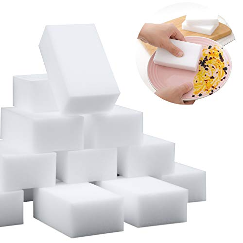 100 Pack Magic Sponge Eraser Extra Thick and Long Lasting Melamine Cleaning Sponges in Bulk - Multi Surface Power Scrubber Foam Cleaning Pads - Bathtub, Floor, Baseboard, Bathroom, Wall Cleaner