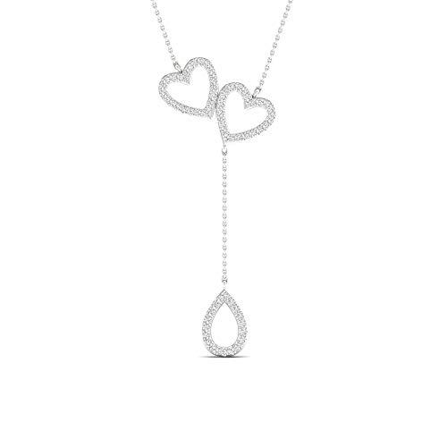 Collar de plata de ley 925 1/6 CTW con forma de corazón y lágrima de lágrima Lariat, cadena de cuerda de 45,7 cm para mujer