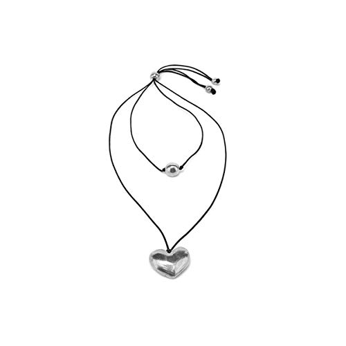 Vestopazzo Aluminum 2 Fil Boule e Coeur - Collar para mujer