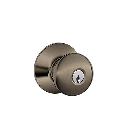 Schlage F51A PLY 620 Plymouth Knob Keyed Entry Lock, Antique Pewter