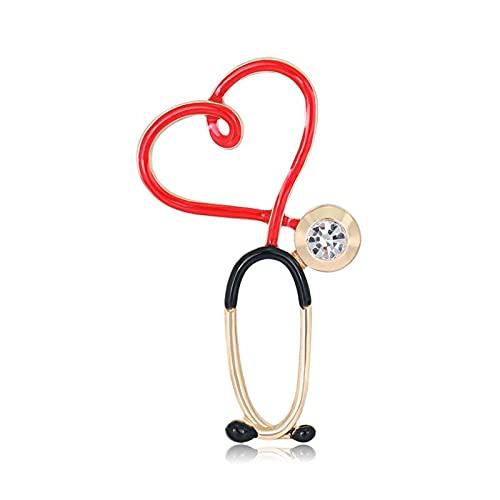 hcma Broches de enfermería Salud Rojo Negro Estetoscopio ECG Latido del corazón Esmalte de Diamantes de imitación Puro diseñador Broche Accesorios de Enfermera