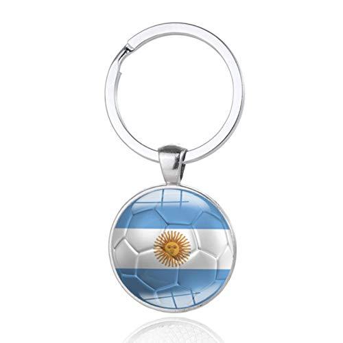 WDam 1 Pieza de Regalo Llavero de fútbol Bandera Nacional fútbol Tiempo Gemas Llavero de Estilo de Coche Personalizado, Argentina
