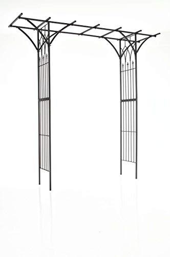 CLP Rosenbogen Milano | Rankhilfe Aus Eisen | Romantischer Rankenbogen mit Pergoladach, Farbe:schwarz