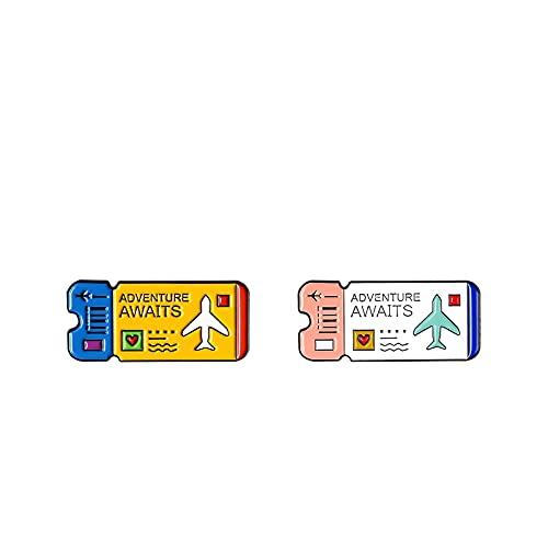 Cartoon Air Ticket Pins Abenteuer erwartet Emaille Pins Booches Jeansjacke Rucksack Tasche Anstecknadel Abzeichen Entdecken Sie Schmuck Geschenke