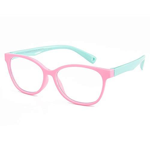 KOOSUFA Kinderbrille Ohne Stärke Blaulichtfilter Brillenfassung Brillengestell Anti Blaulicht Brillen Silikon Rahmen Anti Müdigkeit für Jungen und Mädchen (Rosa+grün)