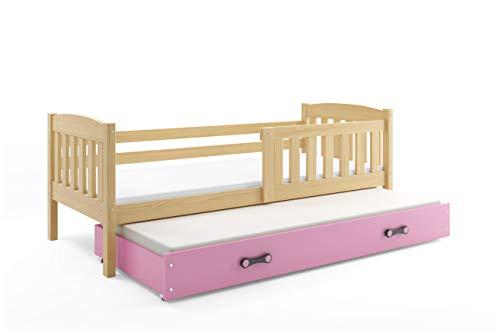 Interbeds Cama Nido Infantil (para 2) Jacob, 200x90, Color Pino, cajón Rosa, con somieres. colchónes de Espuma de 200x90 y 190x80 Gratis!