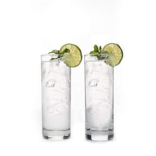 Premium Highball Glass Set - Elegant Tom Collins Glasses Set of 6-12oz Tall Drinking Water Glasses - Bar Glassware for Mojito, Whiskey, Cocktail - Crystal High Ball Glass Drink Tumblers