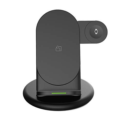Cargador inalámbrico rápido, Cargador inalámbrico multifunción 3 en 1, Soporte de Carga inalámbrico Plegable, para Base de Carga Phone12 para Samsung Galaxy Watch / Galaxy Bud / Watch, etc.