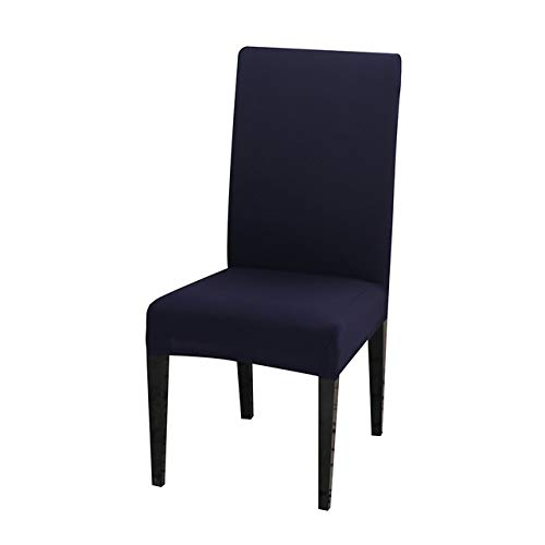 LIUL Solid Color Chair Cover Spandex Stretch Elastic Slipcovers Chair Covers White for Dining Room Kitchen Wedding,Navy