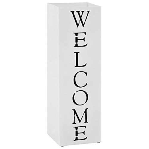 vidaXL Paragúero Diseño Welcome Acero Blanco Accesorios Decoración Hogar Casa