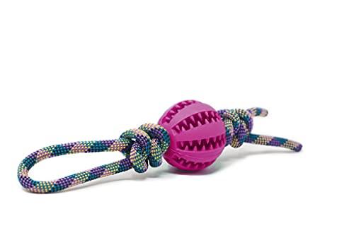 My Joone Made with Love | Hundespielzeug aus Tau in der Farbe lilagelb, Vollgummiball/Dentalball (7cm) für große Hunde, Ball mit Schnur, Kauball, Wurfball, Snackball, Ziehspielzeug, Zergel