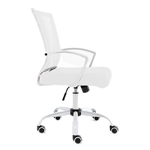 Modern Home Zuna Mid-Back Office Task Chair - Ergonomic Back Supporting Mesh Back Desk Chair (White/White)
