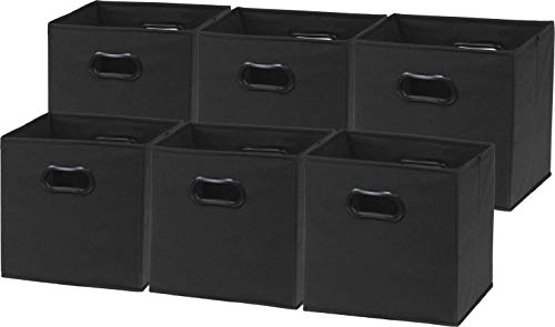 6 Pack - SimpleHouseware Foldable Cube Storage Bin with Handle, Black (12-Inch Cube)