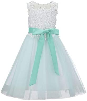 Bow Dream Lace Vintage Flower Girl s Dress Tulle Sleeveless Mint 8 product image