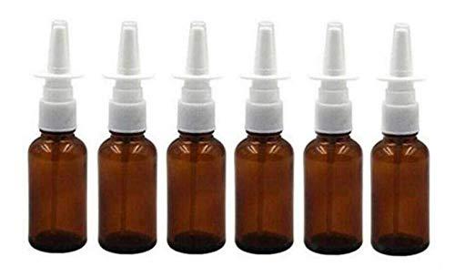 VASANA Leere Glas-Nasenspray-Flaschen mit feinem Nebel, für Make-up, Wasser, Reisebehälter für ätherische Öle, medizinische kolloidale Silbersalzlösung, 10 ml, 6 Stück, braun (Braun) - YPK87257BROWN