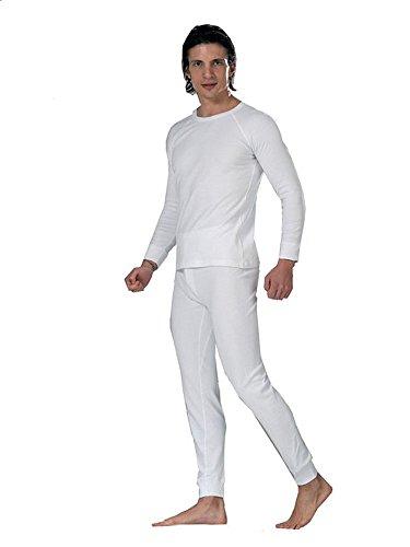 Elegance1234 2pc Thermique 100% Pur Coton pour Hommes (240 GSM) Haut à Manches Longues et à Long John Ensemble (1190 & 1290) (L, Blanc (White))