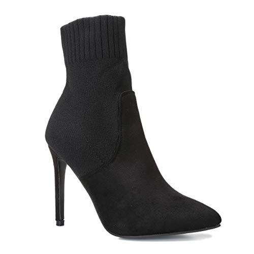 La Modeuse – Botines de dos materiales ante y tejido de malla acanalada efecto calcetín, Negro , 40 EU