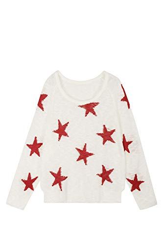 Pink Queen Women's Cute Drop Shoulder Sweater Raglan Sleeve Loose Fit Star Pullover Tops M White