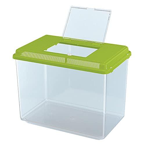 Ferplast Acuario de plástico para Peces Geo Maxi Tanque de 21 L, Acuario terrario para Insectos y Tortugas, Plástico, Rejillas de ventilación, 41,3 x 26 x h 29,8 cm Verde