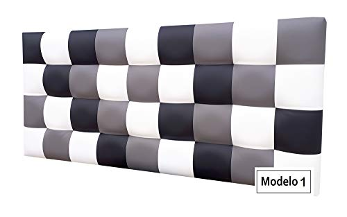 ONEK-DECCO Cabecero de Cama tapizado en Polipiel de Dormitorio Mod. Kansas Patchwork,Acolchado de Espuma Varias Medidas, Cama de niño, Juvenil y Matrimonio (180X70, Modelo 2)