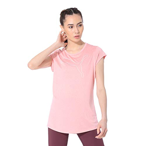 PUMA Damen Active Logo Heather Tee T-Shirt, Bridal Rose, M