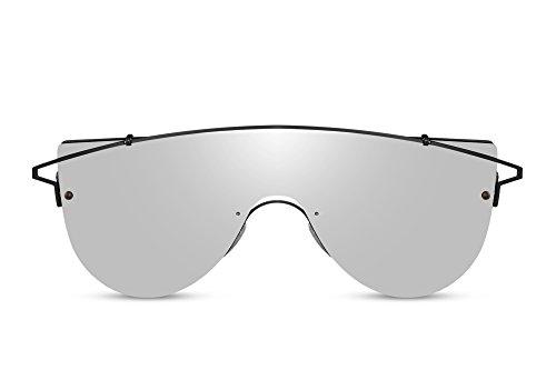 Cheapass Gafas de sol Grandes Modernas Gafas Montura Negra Plateadas Glasses For Chicos And Hombres. 100% Protección UV400