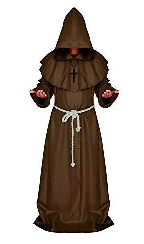 KIRALOVE Disfraz de Monje - Sacerdote - hábito con Capucha - fraile - Edad Media - Disfraces de Hombre - Halloween - Carnaval - Accesorios - Talla s - marrón - Idea de Regalo Original Cosplay