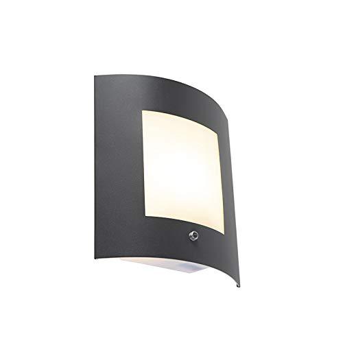 QAZQA Modern Außen Wandleuchte Anthrazit IP44 Hell-Dunkel-Sensor - Emmerald 1 / Außenbeleuchtung Kunststoff/Edelstahl Rechteckig LED geeignet E27 Max. 1 x 40 Watt