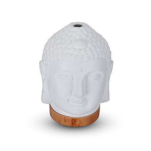 QIMO Máquina De Aromaterapia con Cabeza De Buda, Difusor De Calentador De Cera De Aromaterapia, Adorno De Cabeza De Buda para Yoga, SPA, Oficina En Casa, Regalo Decorativo