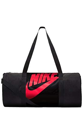 Nike Heritage Duffel Bag - Bolsa de deporte (talla única), color negro y rojo