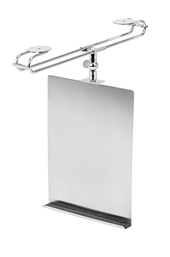 WENKO Support tablette et livre de cuisine, Acier inoxydable, 24 x 2 x 18.5 cm, Argent mat