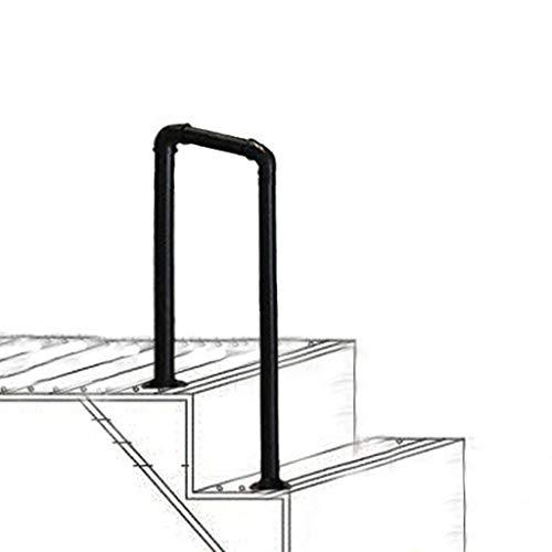 MYAOU Handlauf Streikposten Übergang U-förmige Handläufe Mattschwarz Schmiedeeisen Treppengeländer für Veranda Garten Outdoor Sicherheitspfosten
