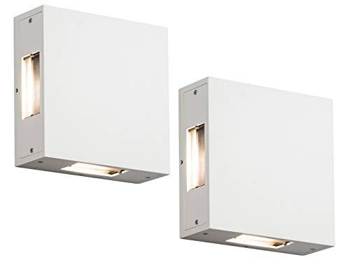 Exklusives 2er SET - LED Außenwandleuchten, Alu weiß, Lichtstrahl an 4 Seiten individuell einstellbar, IP54