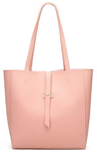 Dreubea Damen Große Tote Schulter Handtasche Weiches Leder Satchel Bag Hobo Purse, Pink (rose), Large