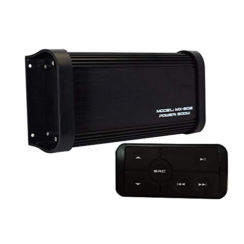 180 Watts 4 Channel Class A/B Waterproof Motorcycle Marine Bluetooth Amplifier Boat Stereo Audio Receiver Sound System MP3 Player with Aux in RCA Out for Boat ATV UTV Powersports Tractor Truck