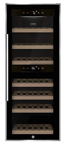 CASO WineComfort 38 black |Weinkühlschrank für 38 Flaschen | 2 Zonen auf 5-20°C einstellbar, Touch, LED beleuchtet freistehend, UV-Filterglas, Schwarz