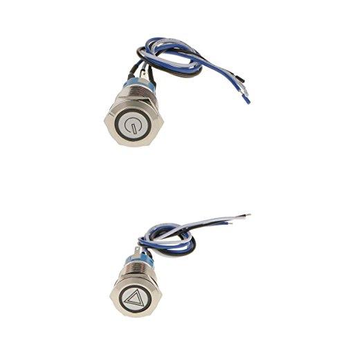 joyMerit 2 Piezas de Interruptor de Panel de Botón Pulsador de Metal LED Resistente Al Agua 12V 19mm